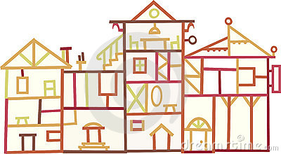 Wood buildings (vector)