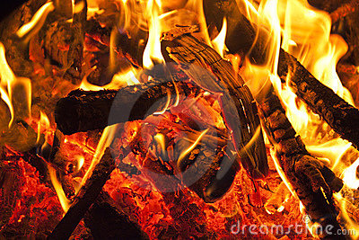 Wood burning on fire