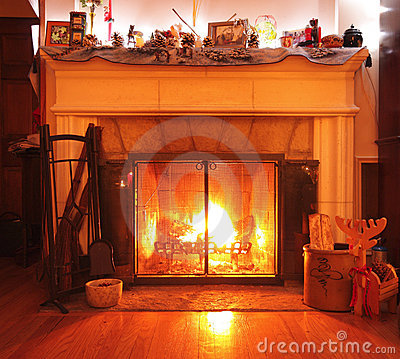 Wood burning fireplace in a living room
