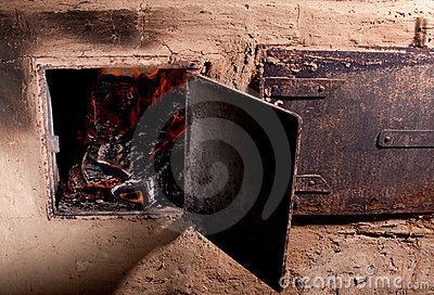wood burning oven with fire