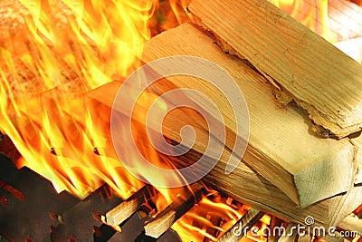 Wood burns on fire