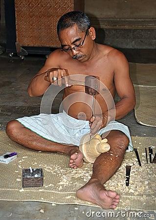 Wood Carving Buddha, Mas Bali Indonesia Editorial Image