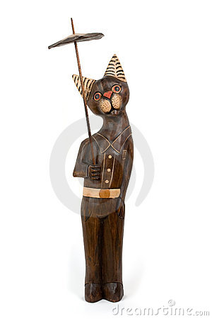 Wood-carving cat