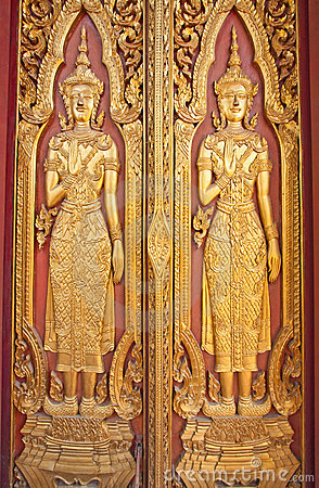 The Wood Carving Door of Thai Temple & The Wood Carving Door Of Thai Temple Stock Photos - Image: 14101563 Pezcame.Com