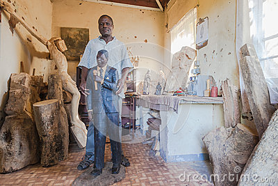 Sculptor Mandela Carving Editorial Stock Image