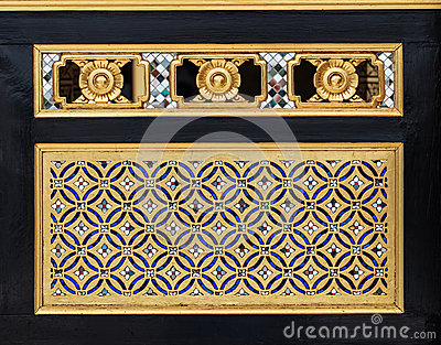 Wood Carving Traditional Thai Style in gold Color