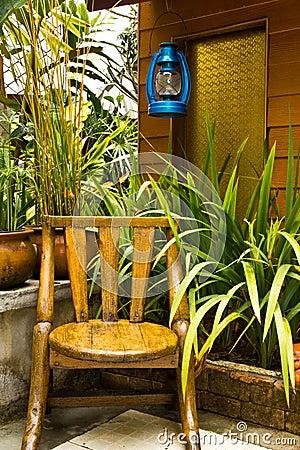 Wood chair in garden.