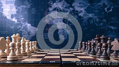 Wood chessboard with wood pieces Stock Photo