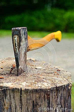Free Wood Chopping Axe Stuck In Tree Stump. Stock Image - 87817421