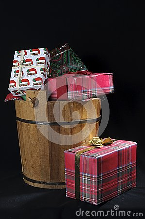 Wood Christmas bucket with gifts