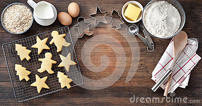 Wood Christmas Cookies Baking Banner Stock Photo