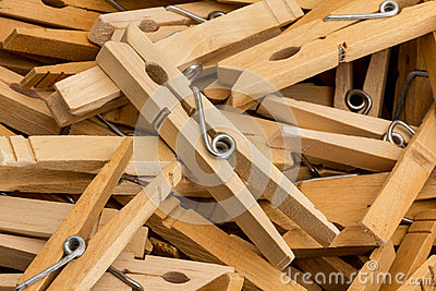 Wood Clothes Pins with Spring