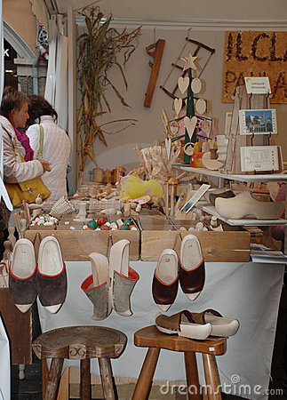 Wood Craft Stall, Friuli Editorial Stock Photo