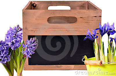 Wood crate with spring flowers