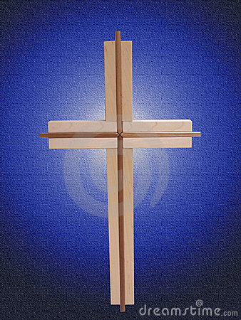 Wood Cross on Blue