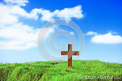 Wood cross on green grass