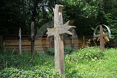 Wood crucifix on cemetery