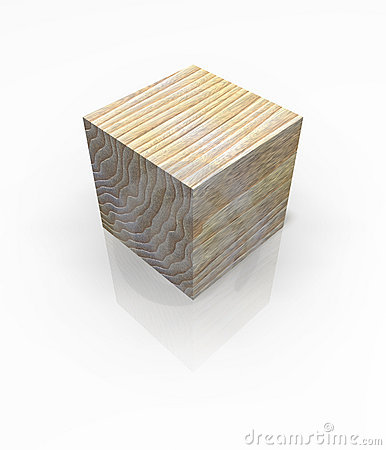 Wood Cube Solid Block Isolated Royalty Free Stock Photography - Image: 3288287