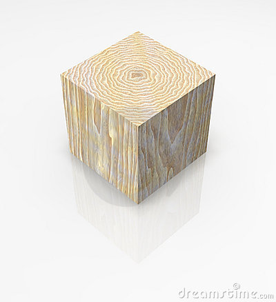 Wood cube solid block isolated