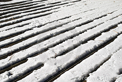Wood deck in snow