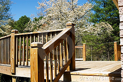 Wood deck in spring/steps