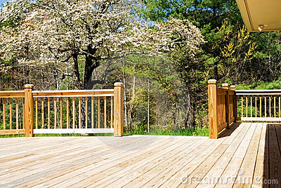 Wood deck in spring/wide