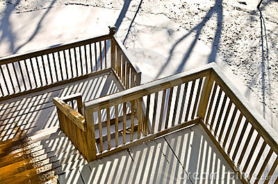 Wood Deck in Winter