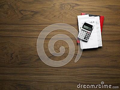 Wood desktop with calculator