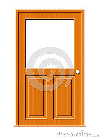 Wood Door with Blank Window