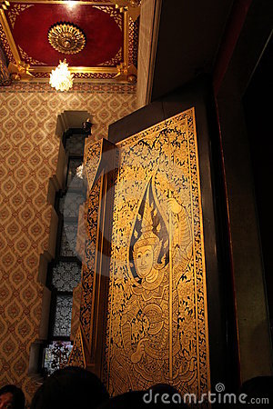 Wood door Thai art