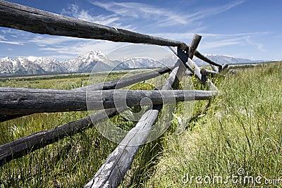 Wood fence frames Tetons.