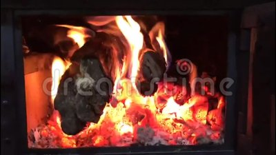 Wood fire. In front of the sob stock video footage