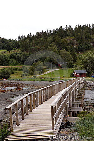 Wood foot bridge over river