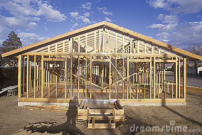 Wood frame of house under construction