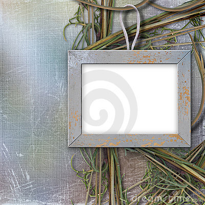 Wood frame for photo, on the abstract background