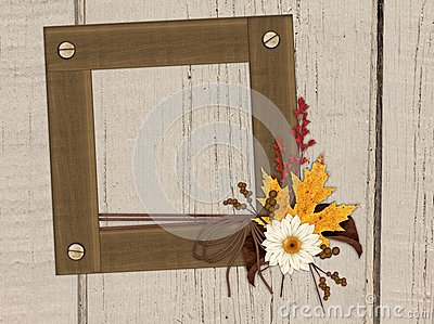 Wood Frame, Wood Wall, Autumn Foliage