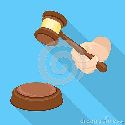 Wood Gavel Icon Flat Style Cartoon Vector Cartoondealercom