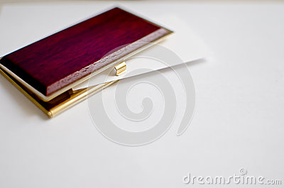 Wood and gold business card holder
