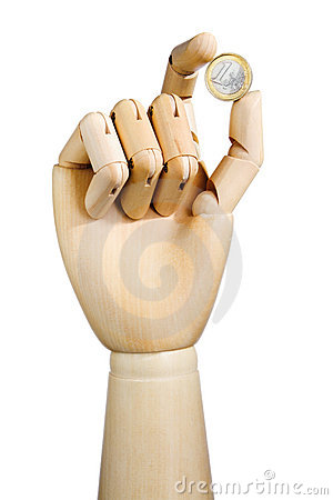 Wood hand with euro coin