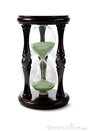 Wood hour-glass with green sand.