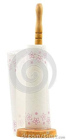 Wood kitchen paper towel holder on white