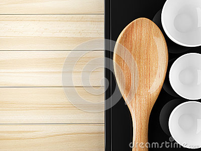 Wood  ladle decorated and wood plank