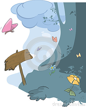 Wood landscape and butterflies