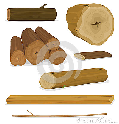 Free Wood Logs, Trunks And Planks Set Royalty Free Stock Images - 29343689