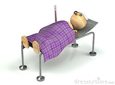 Wood man with flue in the bed