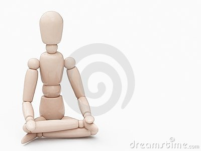 Wood man in lotus position