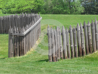 Wood Palisade Of Old Fort. Stock Image - Image: 25051621