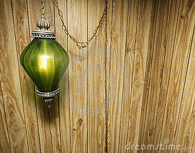 Wood Paneling and Hanging Lamp