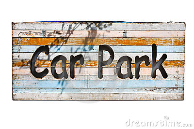 Wood parking sign