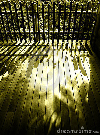 Wood patio wooden fence, sunlight